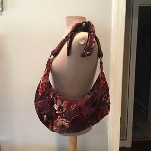 Handbags - Burgundy Flowered Boho Shoulder Bag. Super CUTE!